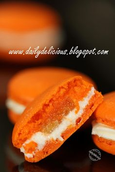 Orange macarons with cream cheese filling