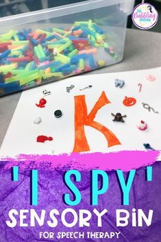 Make your own 'I Spy' sensory bin using cut up straws and mini trinkets. You can use the free category 'I spy' printables to find items that go into category words.