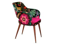 """A midcentury Saarinen style chair, this vintage """"Yes, Deer"""" chair is cover in a mix of densely embroidered traditional textiles which are saturated in Velvet Furniture, Funky Furniture, Mid Century Chair, Vintage Embroidery, Deer, Cushions, Textiles, Traditional, Crafts"""