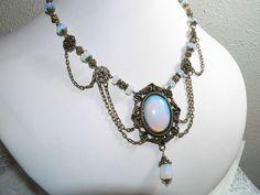 Opalite Moon Stone Cabochon Vintage Style Antique Brass Statement Necklace #Handmade #Statement