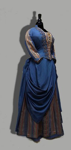 Women of New England: Dress from the Industrial Age, 1850–1900. 1883 Navy Serge stripe. (William Benton Museum of Art - Press Images)