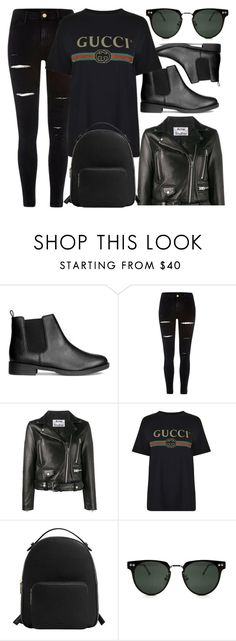 """Casual In Black"" by smartbuyglasses-uk ❤ liked on Polyvore featuring River Island, Acne Studios, Helmut Lang, MANGO, Spitfire and black"