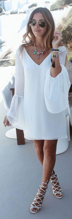 Sivan Ayla Bell Sleeve White Shift Dress Fall Inspo