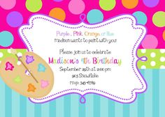 Attractive Best Birthday Invitation Cards Online Attractive Design With Bright Colors And There Is A Brush And Paint Color And Background Dots And Stripes Motif Of Interest