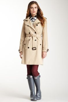 Hunter Classic Trench Coat...cute outfit and colors