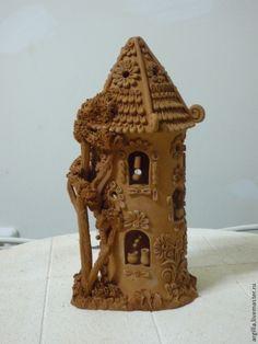 Купить домик подсвечник керамический с деревом - коричневый, домик подсвечник, круглый, подсвечник, подсвечники