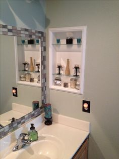Framed Medicine Cabinet Tile Around Standard Mirror