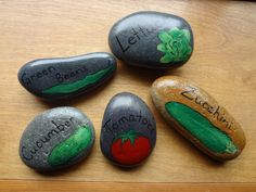 Hand Painted Stone Vegetable Garden Markers - Set of 5