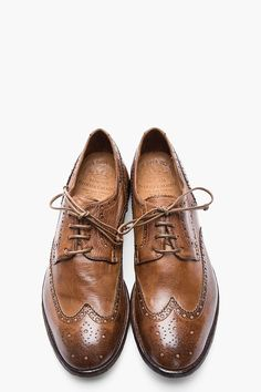 OFFICINE CREATIVE Brown Leather Ignis Wingtip Brogues