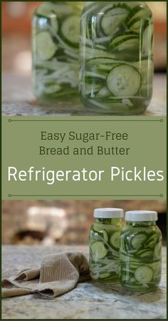 Easy Sugar-Free Bread and Butter Refrigerator Pickles - Try my super easy and fast recipe for bread and butter refrigerator pickles that also uses a sweetener that does not affect your blood sugar and still tastes good. #sugarfree #pickles
