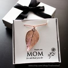 Rose gold dipped Evergreen leaf 2014 Mother's Day Gift ideas by LiveLoveLeaf   #mothersdaygiftideas #mothersday #giftideas #beautiful #liveloveleaf #mother #mom #momjewelry #thankyoumom #liveloveleaf #jewelry #necklace