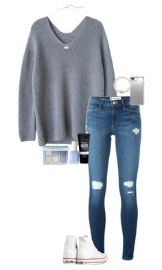 """""""what language are u taking in school?"""" by gabyleoni on Polyvore featuring Frame, Maybelline, Converse, Essie, Anastasia Beverly Hills, Kendra Scott, Speck and Anne Sisteron"""