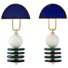 Giorgio Facchini, Unique Black and White Agate, Lapis and Gold Ear Pendants