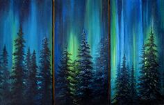 Northern Lights memories from the 1980's in my life!! Iceland!!! (but no tress as in this painting)