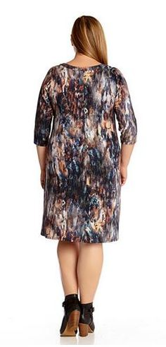 ARTSY PLUS SIZE SPLASHY PAINTERLY PRINT 3/4 SLEEVE T SHIRT DRESS  #Artsy…