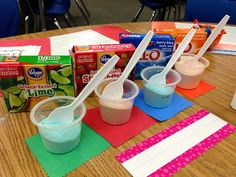 Flavorful Texture Name Activity - Outline the name with Elmer's glue, then sprinkle with Jell-O Powder!  Great way to incorporate a variety of senses!