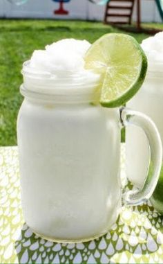 frozen coconut limeade.  I'm going to try this with coconut milk (by the soy and almond milk in the grocery store), and see how that tastes.  It would have a lot less calories that way!