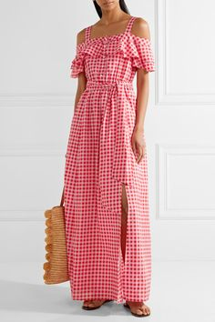 DRAPER JAMES Dolly cold-shoulder gingham cotton and silk-blend maxi dress  Pink and bright-pink cotton and silk-blend Button fastenings along front 72% cotton, 28% silk; lining: 100% cotton Designer color: Sweet Pink Candy As seen in The EDIT magazine