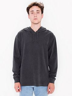 A simple pullover featuring drawstring hood and long sleeves. With color wash treatment that gives it a unique worn-in look and feel.