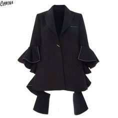 Black Notched Lapel Ruffles Up Blazer Women Flared Three Quarter Sleeve Autumn Novelty Design High Street Outwear
