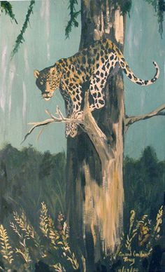 """""""A Jaguar in a Tree"""" An original wildlife acrylic by Gaylord Perry"""
