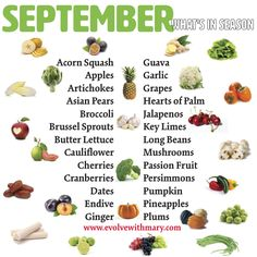 What's in Season • September 🌱🍇🍒🍉🍍🍠🍐🍆🍑🍋🍌🌽🌱 Acorn Squash • Apples • Asian Pears • Artichokes • Butter lettuce • Broccoli • Brussel Sprouts Cherries • Cauliflower • Cranberries • Dates • Endive • Guava • Ginger • Garlic • Grapes • Hearts of Palm • Jalapeño Peppers • Key Limes • Long Beans • Mushrooms • Pineapples • Persimmons • Pumpkin • Plums •Passion Fruit