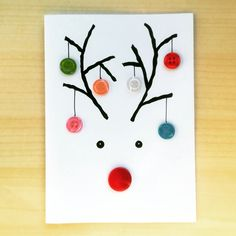 Handmade Christmas card with Rudolph, made with buttons Button Christmas Cards, Christmas Toilet Paper, Christmas Card Crafts, Homemade Christmas Cards, Christmas Drawing, Christmas Activities, Christmas Decorations To Make, Christmas Projects, Homemade Cards
