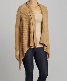 Look at this #zulilyfind! New Camel Shawl Collar Open Cardigan - Plus by TrendSet Originals #zulilyfinds