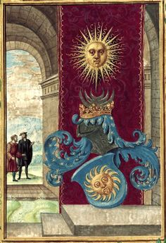 «Splendor Solis» (an alchemical treatise), by Salomon Trismosin, Germany, 1582 [BL Ms Harley 3469] -- f°2: Miniature with two men conversing, a blazing sun, and a helm with the constellations.