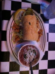 Crawfish Po Boy and red beans and rice. Acme Oyster House - New Orleans