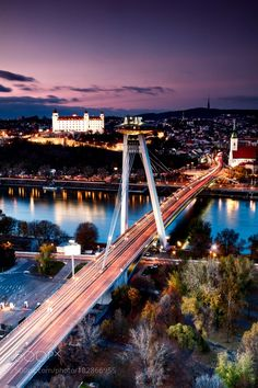 Photo of Bratislava city at sunset time Travel Around The World, Around The Worlds, Europa Tour, Wachau Valley, Bratislava Slovakia, Continental Europe, Danube River, Next Holiday, By Train