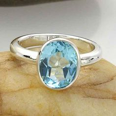 Light Blue Topaz Sterling Silver Ring - made to order - YOUR Ring Size by ChadaSoph on Etsy