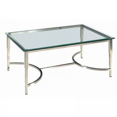 """Sheila Rectangular Glass Top Cocktail Table (Brushed Stainless Steel) (20""""H x 28""""W x 42""""D)"""