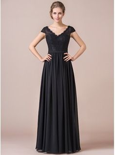 Bridesmaid Dress Possibility. A-Line/Princess V-neck Floor-Length Chiffon Lace Bridesmaid Dress