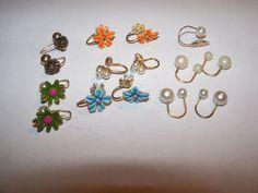 Vintage Flower Pearl Enamel Gold filled Cuff Earrings lot  | eBay