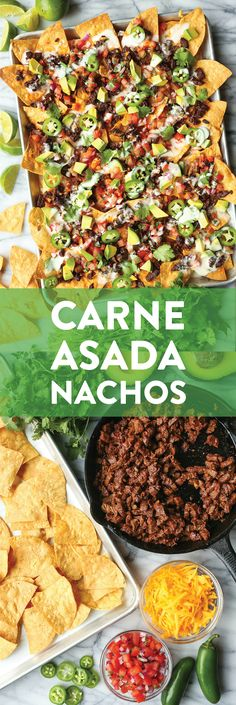 Carne Asada Nachos - BEST NACHOS EVER! Loaded with the easiest most tender carne asada sharp cheddar pico de gallo avocado jalapeno drizzle of queso! Mexican Dishes, Mexican Food Recipes, Beef Recipes, Cooking Recipes, Ethnic Recipes, Skillet Recipes, Cooking Tools, Recipies, Tostadas