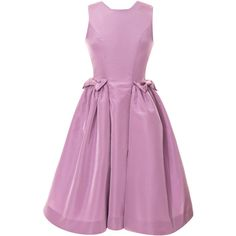Katie Ermilio Lilac Bow Pocket Party Dress (19 490 SEK) ❤ liked on Polyvore featuring dresses, sleeveless cocktail dress, cutout dress, cut out cocktail dresses, zipper back dress and a line dress