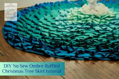 No sew ombre style ruffled tree skirt tutorial. I could do this with shades of muslin or burlap and white cotton cloth.