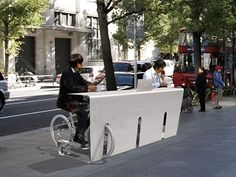 Drive thru for cyclists. This clever seating and serving idea can be a great idea for  a commuter foodservice pop-up! Popup Republic