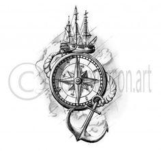"""Résultat de recherche d'images pour """"compass anchor tattoo"""""""