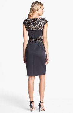 Tadashi Shoji Lace Inset Jersey Sheath Dress | Nordstrom