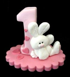 For our little bunny! edible sugar pink baby's no. 1 / first birthday cake topper