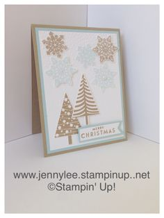 Stampin' Up! Flurry of Wishes | Festival of Trees | Softly Falling textured impressions embossing folder Whisper white, Sky blue and Crumb cake.  www.jennylee.stampinup.net