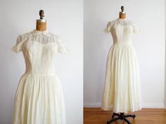 vintage 1940s dress // sheer cotton voile by thegreedyseagull, $218.00