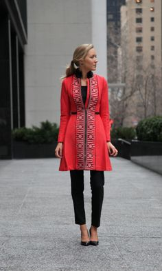 I love how coats have changed from being practical outerwear in sensible colours to chic and stylish. From The Classy Cubicle: Sunburst. #work wear. #winter. via #thedailystyle