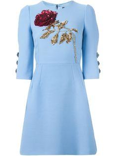 Dolce & Gabbana Платье С Вышитой Пайетками Розой - Pompeu Baqueira - Farfetch.com