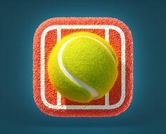 Tennis Ball Icon by Vyacheslav Abushkevich (Saint-Petersburg, Russia) Mobile App Icon, Ios App Icon, Web Design Mobile, Mobile Application Design, App Icon Design, Logo Design, Game Design, Flat Design, Graphic Design