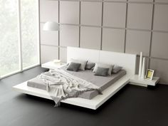 Japanese Style Platform Bed White Bed Frame Smooth Grey Cushion And Bedsheet Modern Style Pic 31