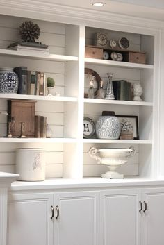 Styled Family Room Bookshelves Shelving Room And Living Rooms - Built in shelves in family room decorating