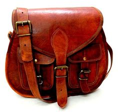 Women Vintage Style Genuine Brown Leather Cross Body bag; leather purse; leather cross body {affiliate link}